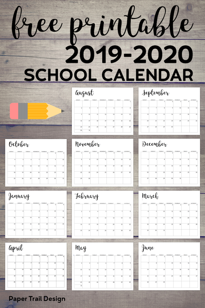 picture regarding School Calendar -16 Printable identified as 2019-2020 Printable Higher education Calendar - Paper Path Structure