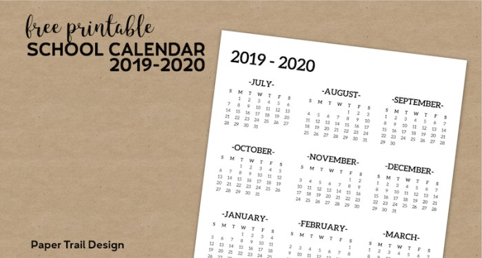One Page 2019-2020 School Year Calendar from July 2019 through June 2020 on a brown paper background with text overlay - free printable school calendar 2019-2020.
