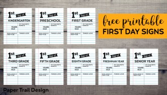 Fill-in-the-blank first day of school signs with text overlay- free printable first day signs