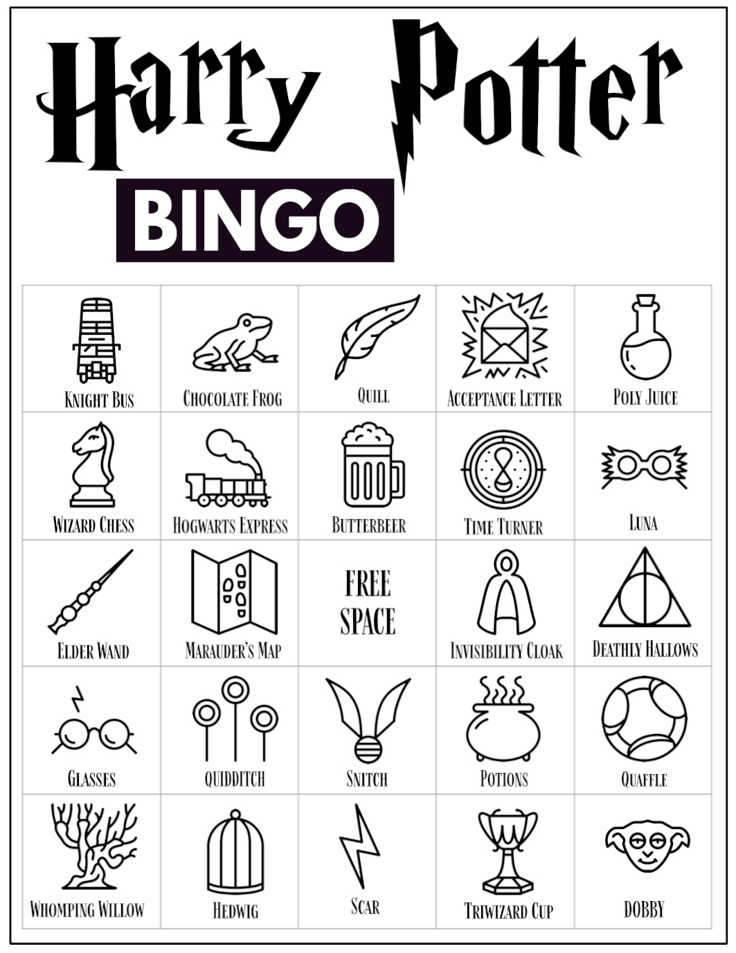 Free Printable Harry Potter Bingo Game