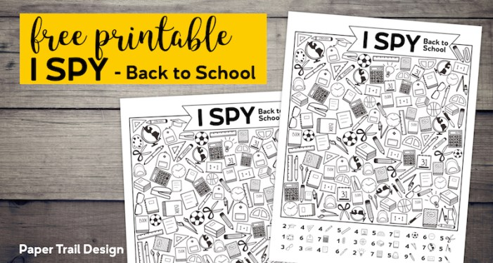 Back to school themed I spy game with text overlay - free printable I Spy Back to School