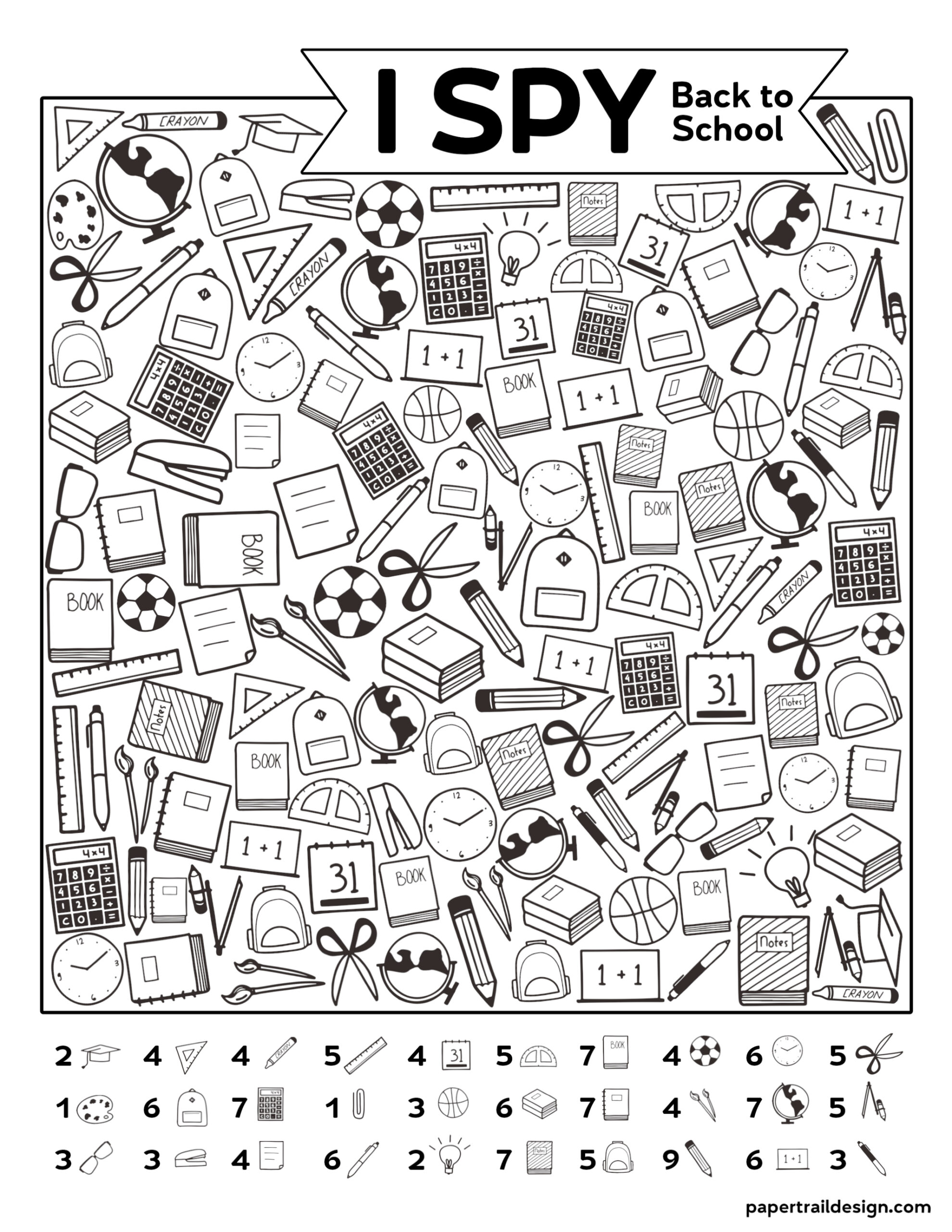 Free Printable I Spy Back To School Activity