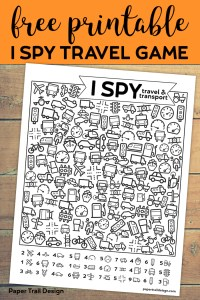 Free Printable I Spy Road Trip Activity {Travel & Transport}. Fun boredom buster kids game for a rainy day, or summer activity. #papertraildesign #ispygame #kidsgame #rainyday #substituteteacher #travelgame #roadtrip #roadtripgame #puzzles