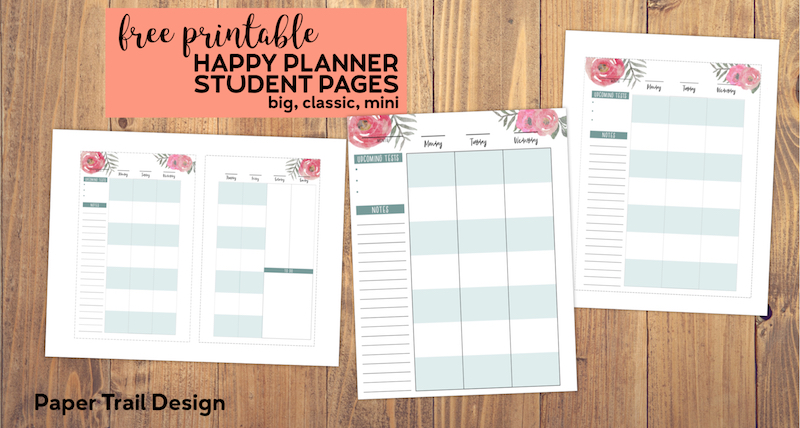 picture about Free Happy Planner Printables named Cost-free Printable Pleased Planner College student Web pages - Paper Path Design and style