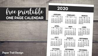 2020 year at a glance one page yearly calendar in bold font with text overlay- free printable one page calendar.