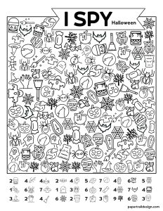 Free printable I Spy Halloween game with Halloween pictures to find on the page.