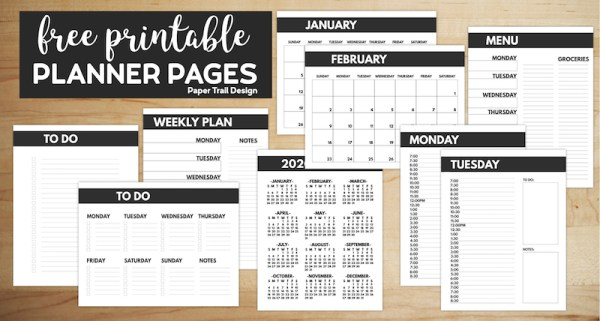 Planner pages influding calendars, weekly planner, daily planner, and to do lists with text overlay- free printable planner pages