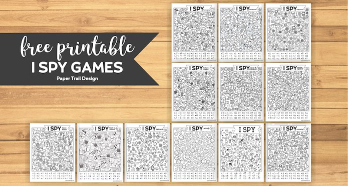 12 I spy activity game printables on wood background with text overlay- free printable I Spy Games