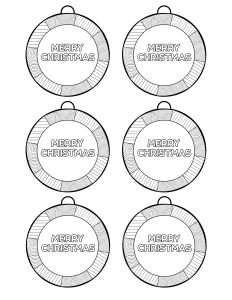 Six Merry Christmas ornaments to color in.