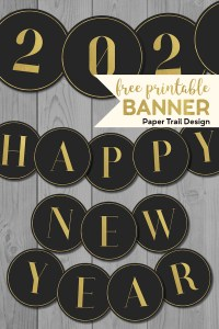 Happy New Year banner with year numbers with text overlay- free printable banner