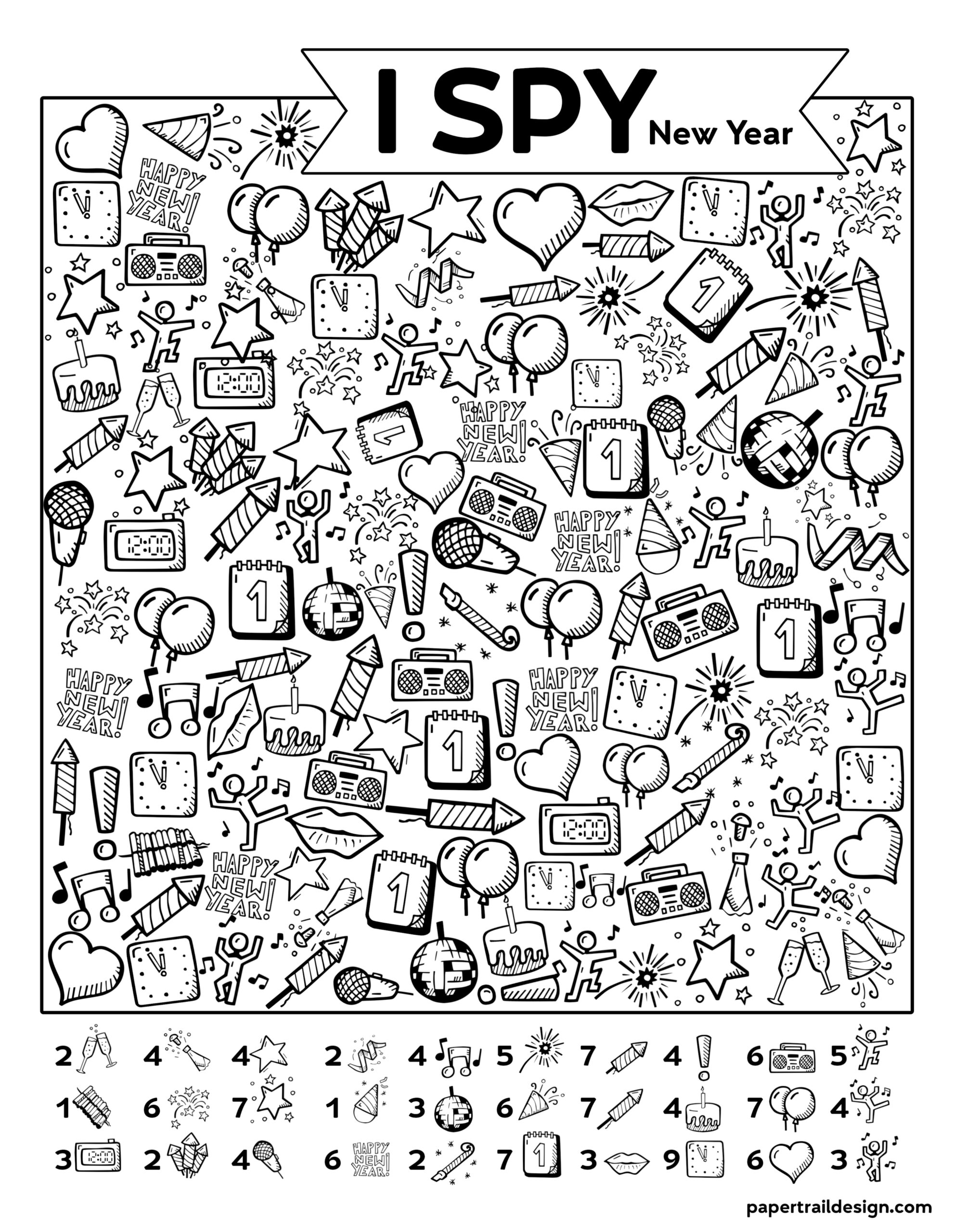 Free Printable New Year I Spy Activity