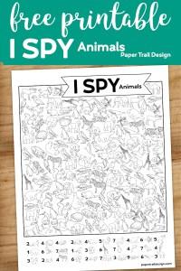I spy animal themed activity page with text overlay- free printable I spy animals