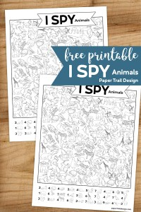 I spy animal themed activity pages with text overlay- free printable I spy animals