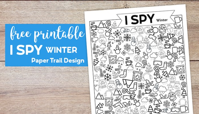 I spy winter themed activity page with text overlay- free printable I spy winter