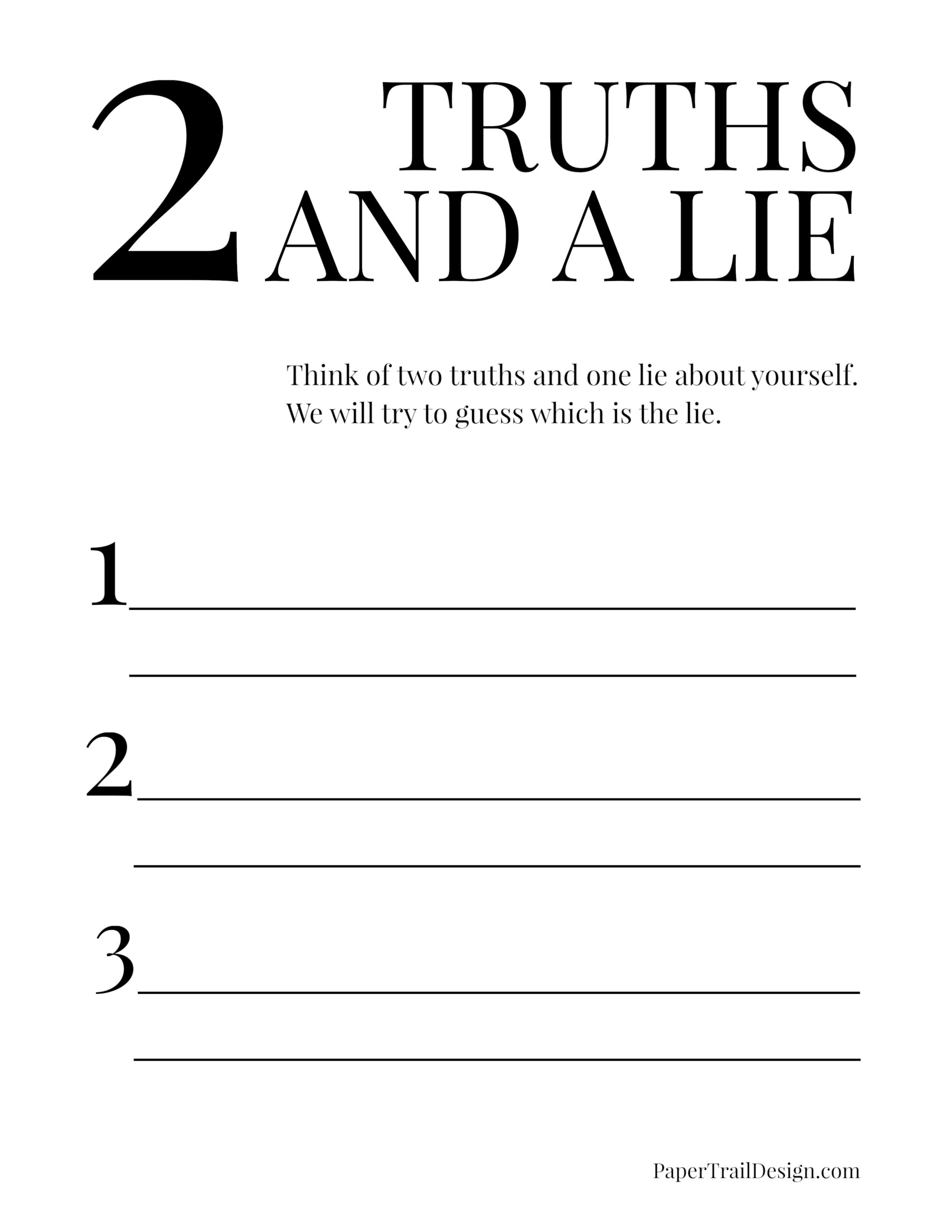 Two Truths And A Lie Game Free Printable