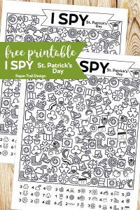 Two I Spy St. Patrick's Day themed activity pages with text overlay free printableI Spy St Patrick's Day