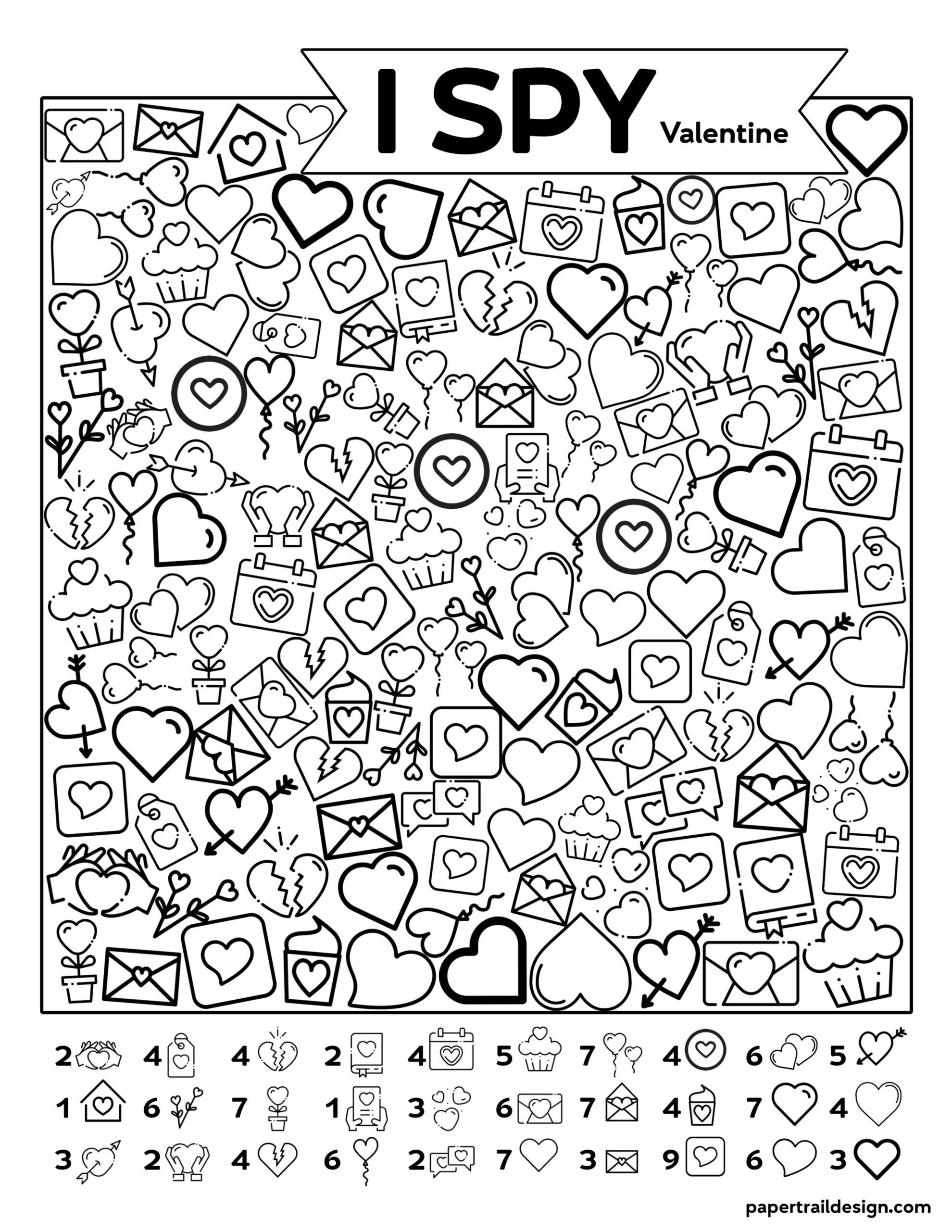Free Printable Valentine I Spy Activity