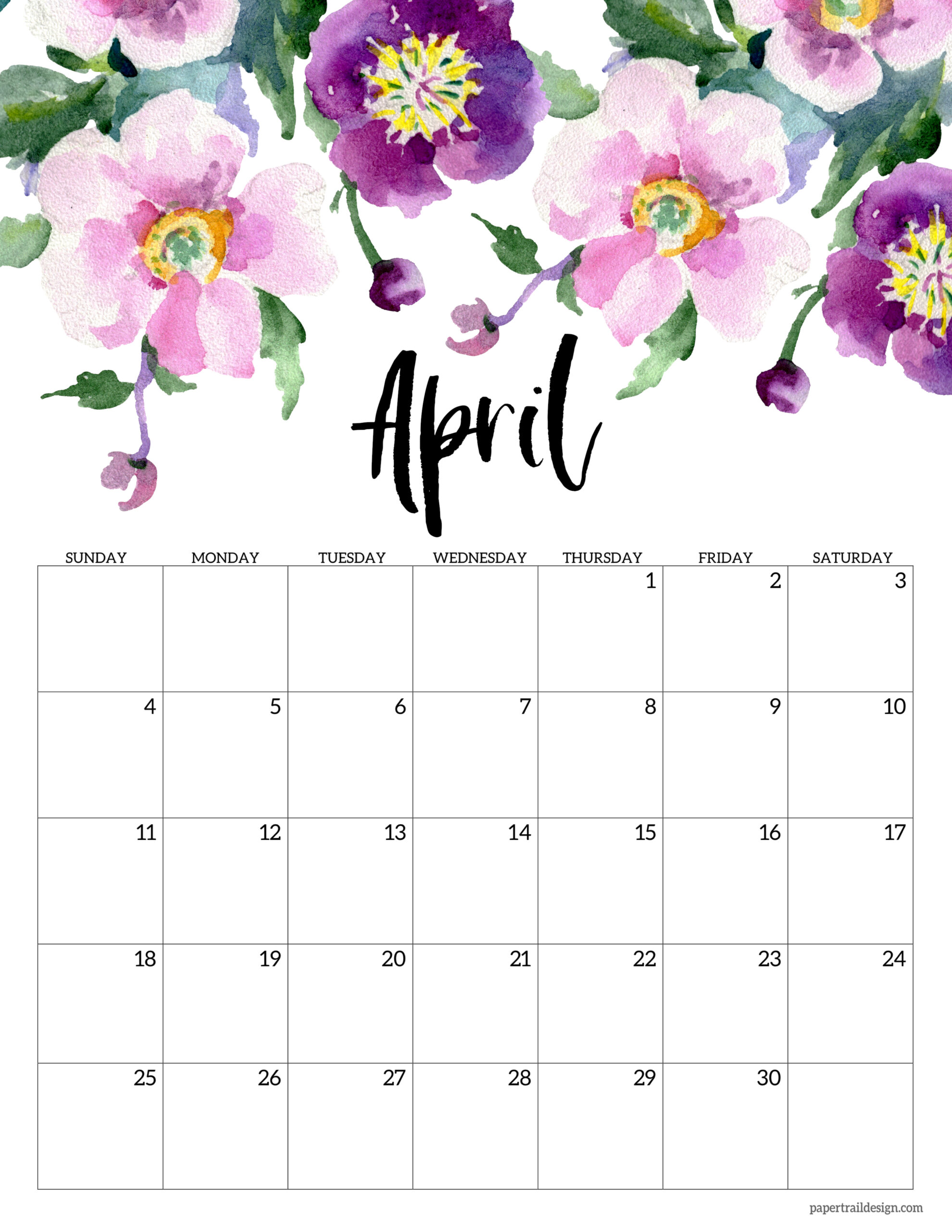 By sally wiener grotta 25 march 2021 we tested the best photo calendars services so that you can pick the righ. Free Printable 2021 Floral Calendar | Paper Trail Design