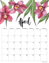 April 2021 calendar page with pink orchid flowers
