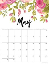 May 2021 Floral Calendar page with pink flowers