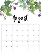 August 2021 calendar page with white and purple blackberries and blossoms