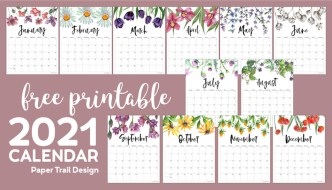 2021 floral decorated calendar pages from January to December with text overlay- free printable 2021 calendar