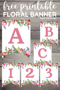 Letters A, B, C and numbers 1, 2, 3 banner flags with pink and purple flowers with text overlay- free printable floral banner