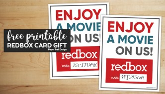 Printable redbox movie code card with text overlay- free printable redbox card gift