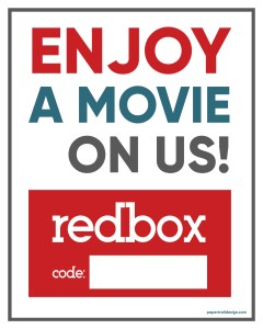 Printable card with text- enjoy a movie on us, redbox code