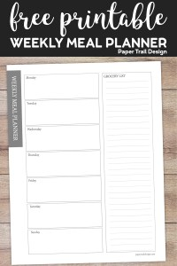 Meal plan printable with a space for each day of the week and a column to write your grocery list on wood background with text overlay- free printable weekly meal planner