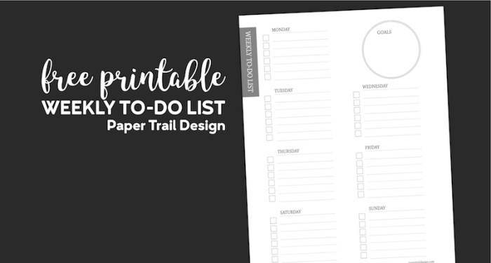 To-do list for each day of the week and a place to write goals on black background with text overlay- free printable weekly to do list