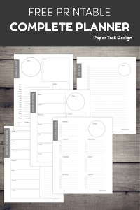 Five Planner pages on a wood background with text overlay- free printable complete planner