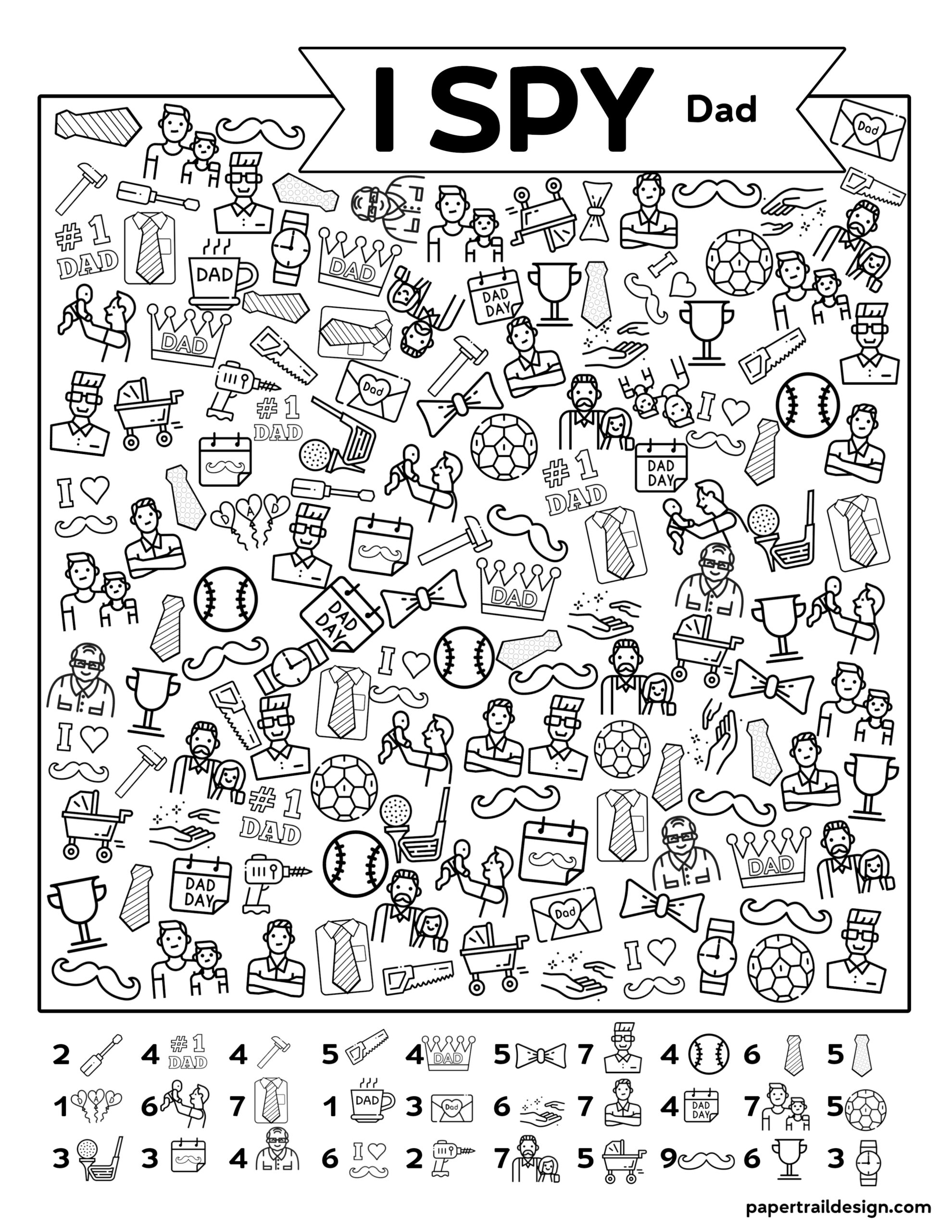 Free Printable I Spy Father S Day Activity