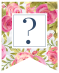 Pink floral rose banner with question mark in white box