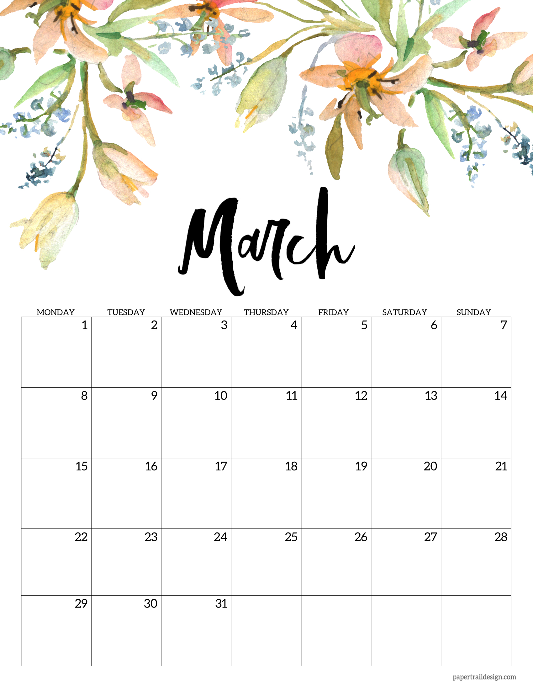 Download 2021 and 2022 calendars. Free Printable 2021 Floral Calendar - Monday Start   Paper ...
