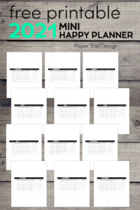 mini monthly calendar templates that can be cut to fit a Happy planner with text overlay- free printable 2021 mini happy planner