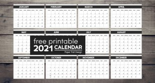 2021 Free Monthly Calendar Templates
