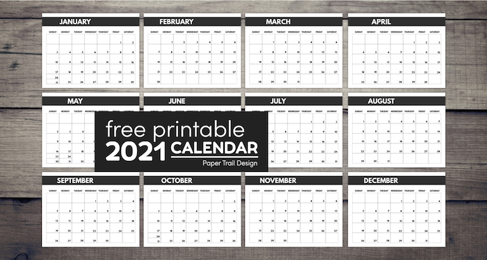2021 Free Monthly Calendar Templates