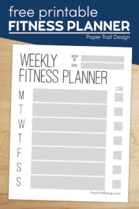 Weekly fitness planner printable page with text overlay- free printable fitness planner