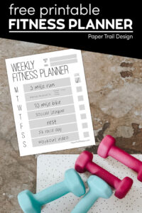 Fitness Planner printable with weights and text overlay- free printable fitness planner