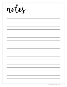 Note paper template printable page