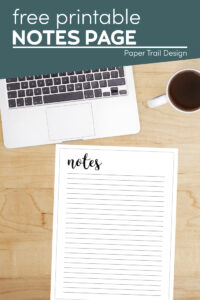 Printable notes template with text overlay- free printable notes page