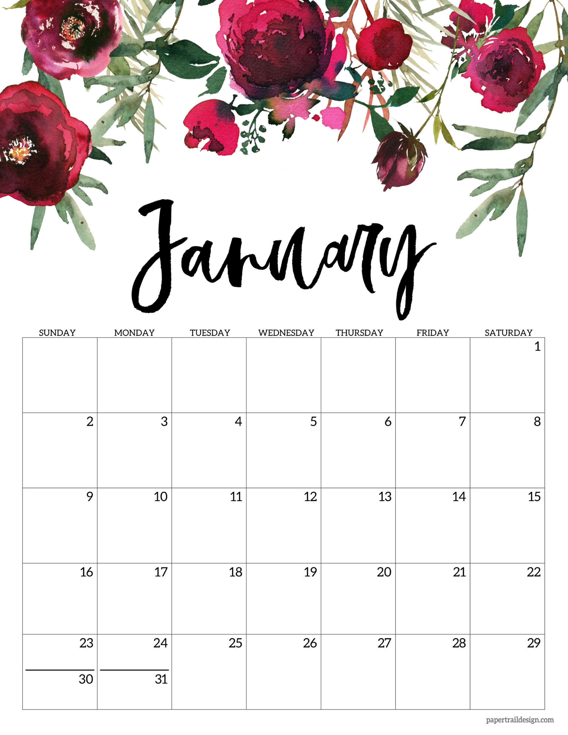 free 2022 excel calendars templates. Free 2022 Calendar Printable - Floral   Paper Trail Design