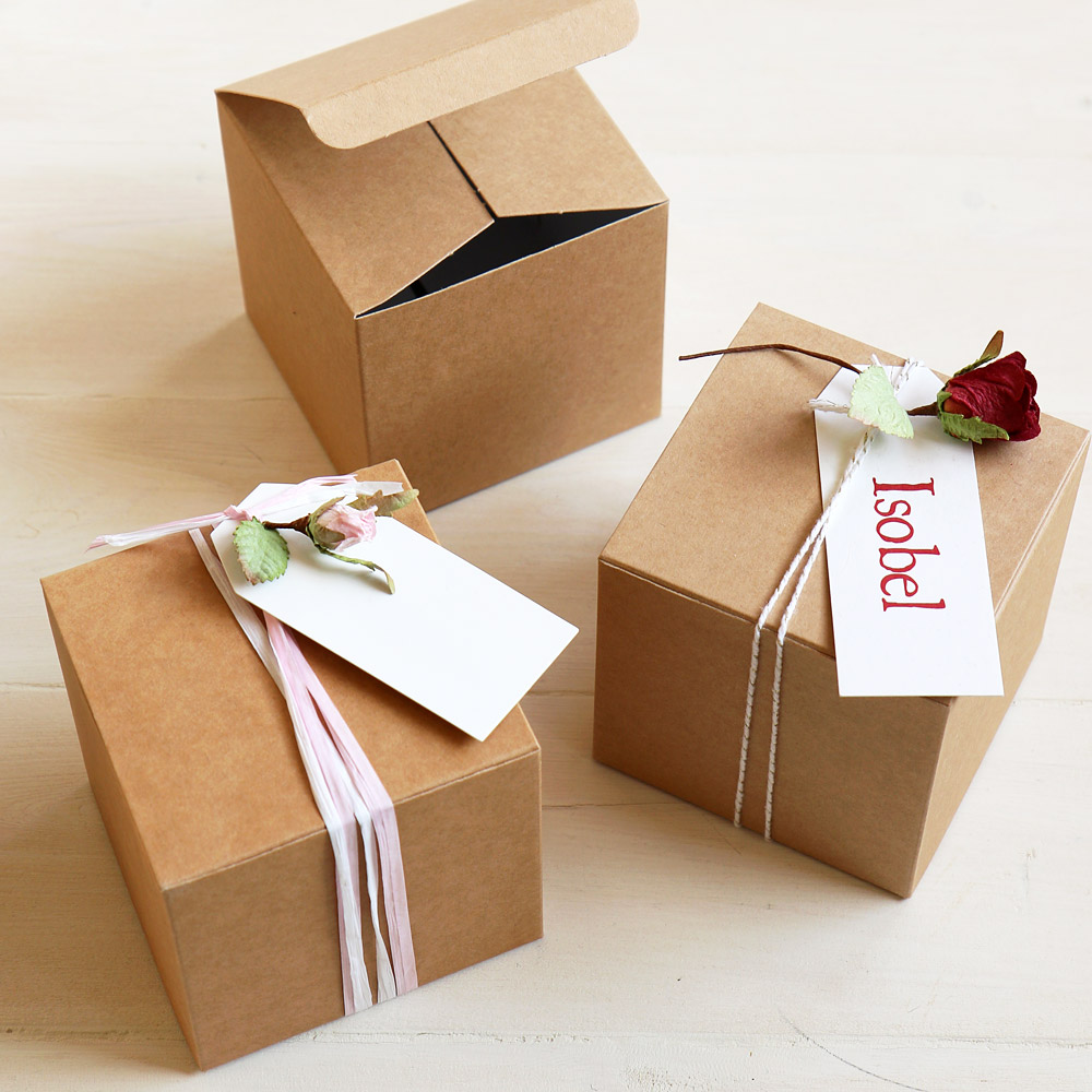Small Kraft Favour Box For Gifts Amp Favours 10cm Square