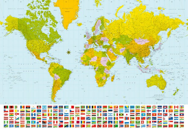 Continents archives paperzip giant world map with flags for the classroom gumiabroncs Image collections