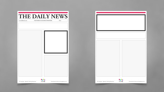 Blank newspaper templates paperzip blank newspaper template for kids pronofoot35fo Images