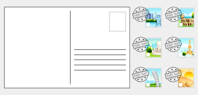 Great Blank Postcard Templates That Include 6 Versions With Stamps And One  Version Without. Some Of The Places Include New York, Paris And Rome.