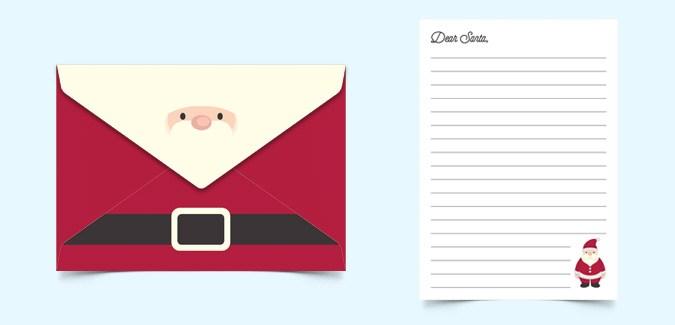 dear santa letter and envelope paperzip