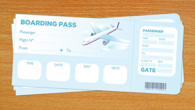 graphic relating to Printable Boarding Pass called Boarding P Template - PAPERZIP