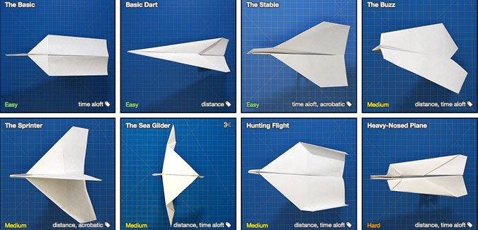 Fold n Fly is a database of paper aeroplane templates - PAPERZIP